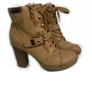 G by guess combat lace tan boots